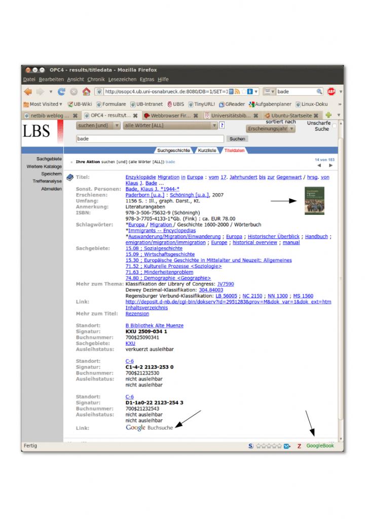 Google Buchsuche Für Den Opac Ublog